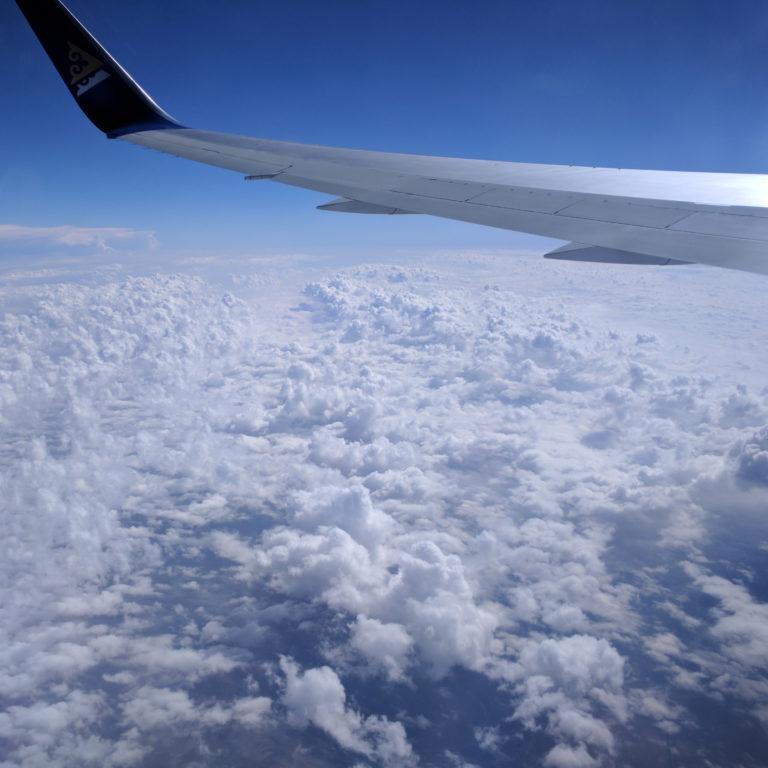 Blick aus dem Flugzeug auf der Reise